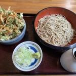 しのぶあん - 料理写真:阿見町産常陸秋そば十割とミニかき揚げ丼