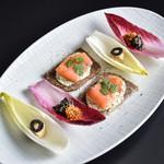暁タップス - コースメニュー 大槌・スモークサーモンと東北食材の前菜