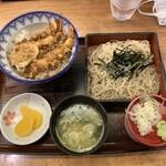 日本そば東京庵 - 天丼セット1450円。