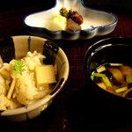 隠れ里車屋 - 食事:釜焚御飯 汁 香の物