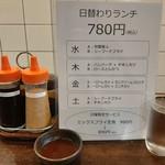 洋食Iwanaga  - 曜日ごとに2種類から選べる日替わりランチ780円、卓上にはドレッシングも2種類