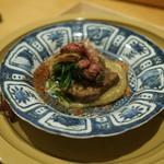 淡 如雲 - タンの南蛮煮、牛骨で煮た黒あわび、黒トリュフと銀杏餅、干し肉