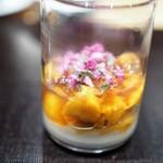やまぐち - 柿 雲丹 カリフラワーのピュレ 貝柱出汁のジュレ