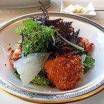 ラピュタ - 前菜:北海道産ホタテ貝のフリットと車海老入りパルメザンとアンチョビ