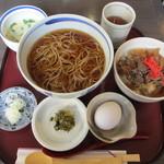 12038564 - 門前そば+近江丼 800円
