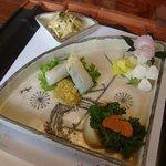 東会芳 - 三点盛り(三つ葉と桜海老、生春巻、蕪含め煮)