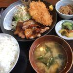萬福   - 料理写真:焼肉&アジフライ定食 ライス大盛 ¥930-