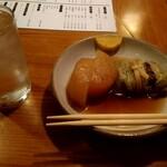 酒蔵 大太鼓 - 福岡県の米焼酎 舞水とおでんの大根とロールキャベツ