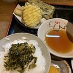 120656561 - たかなちりめんご飯と野菜天