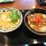 丸亀製麺 - かけ並×牛丼