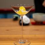 柚木元 - 昆布〆にした長芋 イワナ卵の塩漬け 梅酢