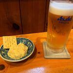 かつ庵 - お通しと生ビール
