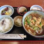 たんば茶屋 - 料理写真:田舎定食(1,100円)+カレーうどんに変更(+100円)