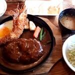 洋食春 - 天然有頭エビフライ&ハンバーグセット