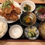 宗村食堂 - 鶏の唐揚げ定食(刺身付)