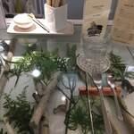 120820580 - ガラス張りのカウンターには植物のディスプレイが飾られています