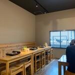 都野菜 賀茂 - 空きテーブルは予約席。追加料金で牛しゃぶもいただける