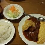 ポリネシアン - 料理写真:牛バラ、オムレツ定食