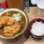 立ちそば処 杜 - 2019年12月。鶏から揚げカレーそば550円。ミニライス付き。