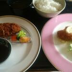 洋食 花乃湯 - 料理写真:花乃湯ランチ 飛騨牛メンチカツ(110g)と本ずわい蟹カニクリームコロッケ
