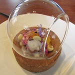 レクスキ フレンチetワイン - 前菜~明石の生タコのマリネ カリフラワーのピューレ ハスの実 ヤマメの卵