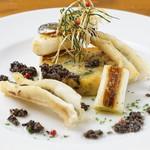 島根県産穴子のソテーとジャガイモの焼きテリーヌ トリュフの香りとともに