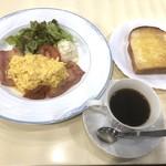 ルノアール - モーニングA(500円:税込)・・トースト・玉子料理・サラダ・コーヒーまたは紅茶など。