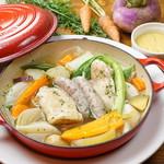 愛媛産媛っこ地鶏と三重さくらポークソーセージ、冬野菜のポトフ