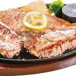 ステーキとハンバーグのさる~ん - 料理写真:みすじとサーロイン、かいのみを一つの鉄板で提供。 ステーキの玉手箱や~