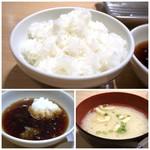 天麩羅処ひらお - ◆天ぷらの前に「ご飯(小)」「お味噌汁」「天つゆ(追加可能)」が出されます。 ご飯の質は普通、小盛でも多く半分残しました。m(__)m