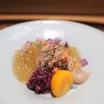 肉割烹 上 - 香箱蟹 牛コンソメジュレ 栗のソース