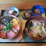 やまき - 「鮭わっぱ飯+うどん 990円(税込)」【ランチメニュー】