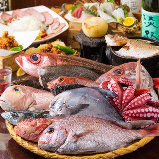 【名物】ざるみせ…淡路中心の鮮魚1本をお好みの調理方法で堪能