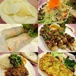"""フォーモティティ - """"キャベツと鶏肉のサラダ、エビと豚肉の生春巻、ベトナム風焼き鳥、ベトナム涼麺、ベトナム風お好み焼き"""""""