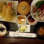 おかめ - さしみ天ぷら定食