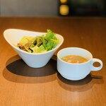 Ristorante Orobianco - サラダ+スープ