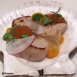 121048545 - 帆立貝柱のMie cuit,イクラ、夏豆、コンソメ