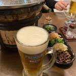 幸永 - 生ビール プレモル ナムル盛り合わせ