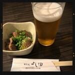 牛たん よし田 - 牛たん塩煮込み&生ビール