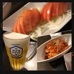 牛たん よし田 - コールドビール・キムチ・フレッシュトマト