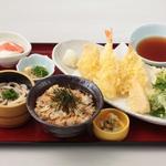 築地飛賀屋 - あさりご飯と春の天ぷら御膳