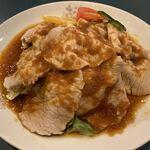 亀仙人 - 豚肉のにんにくソース