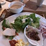 RISTORANTE OZIO - 朝食ビュッフェ3025円(総額)。写メを改めて見るとシーザーサラダをたくさんいただいていますね(笑)。とても美味しかったです(╹◡╹)