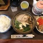 山海 - 2019/12/06 山海おまかせ定食 1,500円 豚味噌鍋、刺身二品、唐揚げ、サラダ