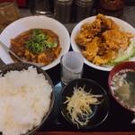 熱血食堂すわ - ♦︎油淋鶏と麻婆豆腐(辛)定食 1,000円 当店人気の二品の組み合わせ