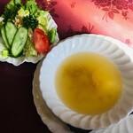 コーラル - 料理写真:玉子スープ&サラダ