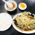121213623 - レバー野菜炒め定食680円、ライス少なめ