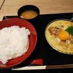 かつゑもん - 料理写真:月見玉子とじかつめし780円+味噌汁100円 (税込み968円)