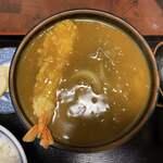 Hinodeudon - 肉入カレーうどん 950円 (天ぷら(海老) 100円)