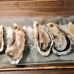 ユイットル - 生牡蠣 左が厚岸、右が赤穂